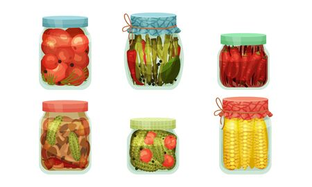 Glass Jars with Pickled Products Like Corn and Asparagus Vector Set. Home Conservation of Vegetables Concept