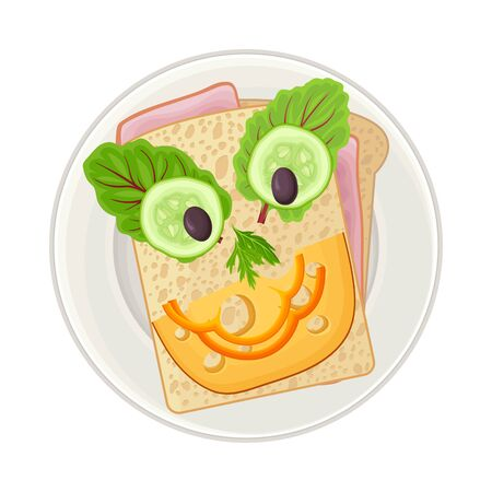 Sandwich with Vegetables Served in Smiley Shape as Child Breakfast Vector Illustration. Homemade Nutrition and Plating for Children Concept Vector Illustration