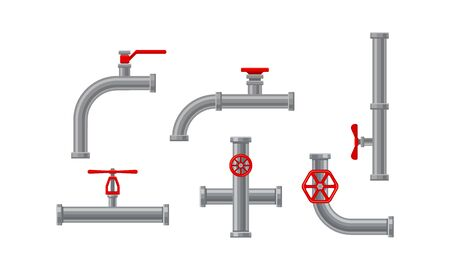 Pipe Fitting or Adapters with Valves Isolated on White Background Vector Set. Piping and Plumbing Fitting for Regulating Fluid Flow Concept