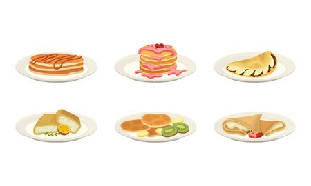 Crepes or Pancakes with Different Stuffing and Toppings Rolled and Folded on Plate Vector Set. Traditional Homemade Dessert and Pastry Concept