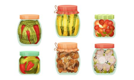 Glass Jars with Pickled Products Like Corn and Mushrooms Vector Set. Home Conservation of Vegetables Concept 向量圖像