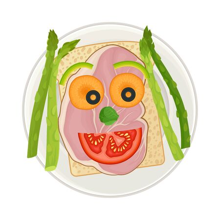Sandwich with Sliced Bacon and Vegetables Served in Smiley Shape as Child Breakfast Vector Illustration. Homemade Nutrition and Plating for Children Concept