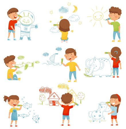 Kids Characters Standing and Drawing with Felt Pens on the Wall Vector Illustrations Set. Recreation Art for Children Concept