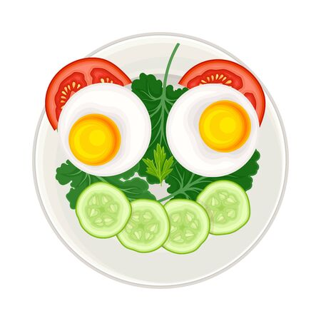 Breakfast Food with Sliced Vegetables and Boiled Egg in Shape of Smiley Above View Vector Illustration. Funny Meal Serving and Plating for Children Concept