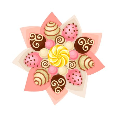 Bouquet of Sweets Chocolate and Caramel Covered in Paper Wrap View from Above Vector Illustration