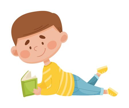 Boy Lying on the Floor with Open Book and Reading Vector Illustration