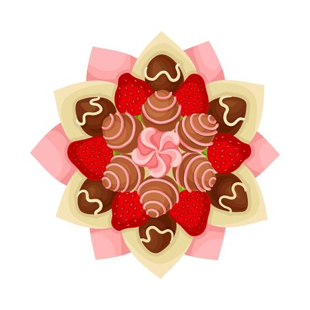 Bouquet of Sweets and Strawberry Covered with Chocolate in Paper Wrap View from Above Vector Illustration. Sugary and Tasty Gift for Special Occasion Concept 向量圖像