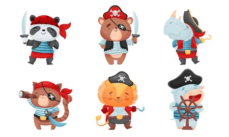 Animals Pirates with Bandana and Eye Patch Vector Set 向量圖像