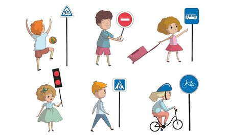 Kid Characters Walking and Cycling Across the Road Vector Set