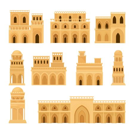 Arabic Architecture and Buildings with Geometric Ornament Vector Set