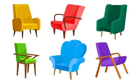 Bright Upholstered Armchairs and Chairs Isolated on White Background Vector Set