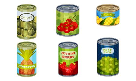 Canned Goods or Food with Pineapple and Olives Vector Set