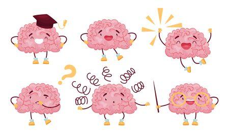 Funny Brain Jumping with Joy and Thinking Set Векторная Иллюстрация