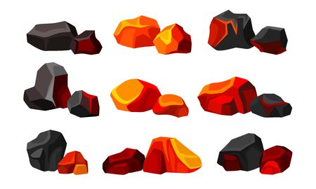 Volcanic Stones or Cobbles of Different Shapes Set
