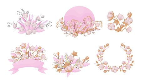 Cotton Compositions with Blossomed Buds and Twigs Vector Set. Soft and Tender Botanical Inflorescence