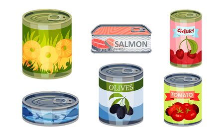 Canned Goods or Food with Sliced Pineapple and Olives Vector Set Vectores