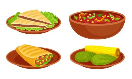 Bowl with Baked Beans and Tacos or Burrito Food Vector Set