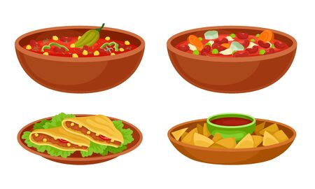 Bowl of Baked Beans with Vegetables and Tacos Vector Set