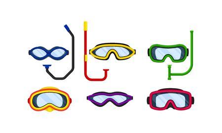 Scuba Goggles and Snorkel of Different Color and Shape Vector Set Vektorgrafik