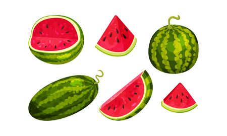 Whole and Halved Watermelon Fruit with Juicy Red Flesh and Black Seeds Inside Set