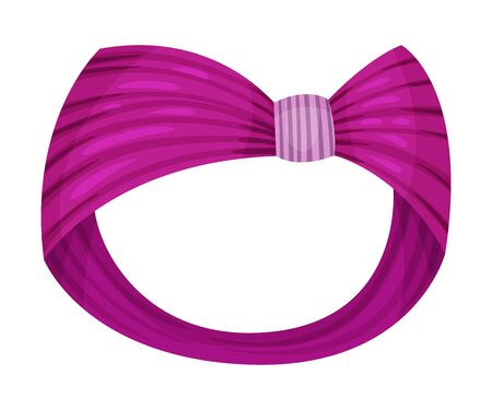 Female Headband Made of Silk Material with Knot Isolated on White Background Vector Illustration 向量圖像