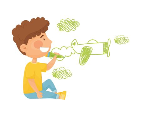 Cheerful Little Boy Drawing Plane with Pencil on the Wall Vector Illustration. Artistic Recreation for Children Concept