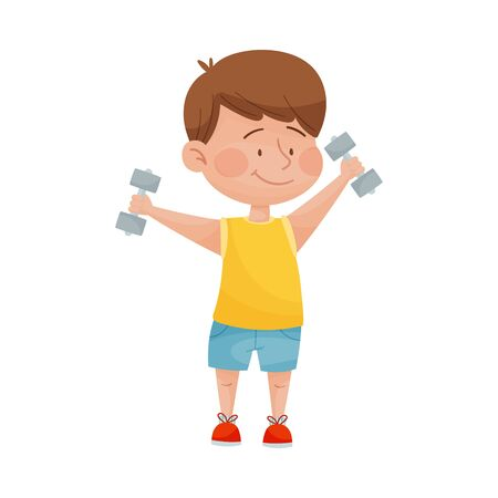 Happy Boy in Sport Wear Holding Bar Bells and Doing Morning Exercises Vector Illustration