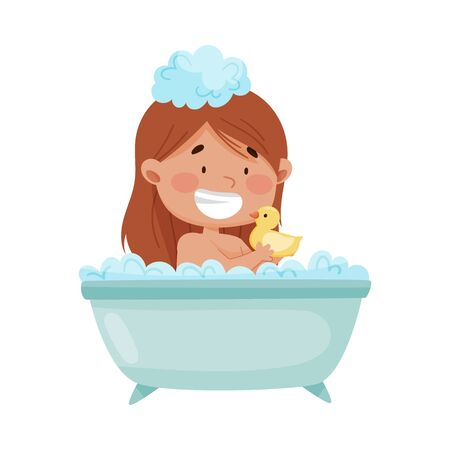 Cheerful Girl Taking a Bath Sitting in Bathtub and Playing with Yellow Duck Vector Illustration
