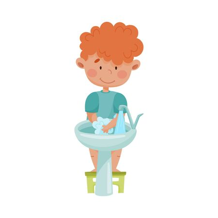 Little Boy Washing Hands Standing on Stool in Front of the Sink Vector Illustration