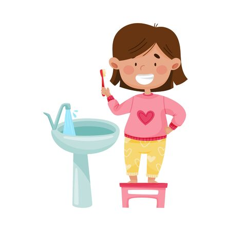 Little Girl Brushing Her Teeth Standing on Stool in Front of the Sink Vector Illustration