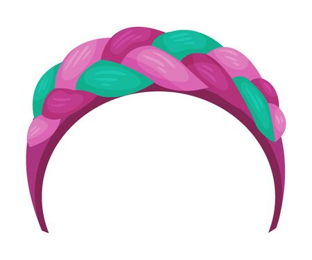 Girlish Headband with Braided Ribbon for Doing Hair Vector Illustration. Personal Accessory for Grooming and Styling Concept