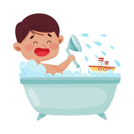 Cheerful Boy Taking a Bath Sitting in Bathtub Vector Illustration. Little Kid Washing Himself and Having Bath Procedures Vektorové ilustrace
