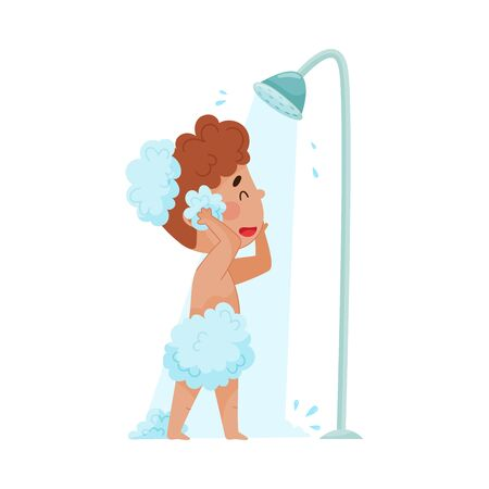 Cheerful Boy Taking a Shower Standing Under Shower Head Vector Illustration. Little Kid Washing Himself and Having Bath Procedures 向量圖像