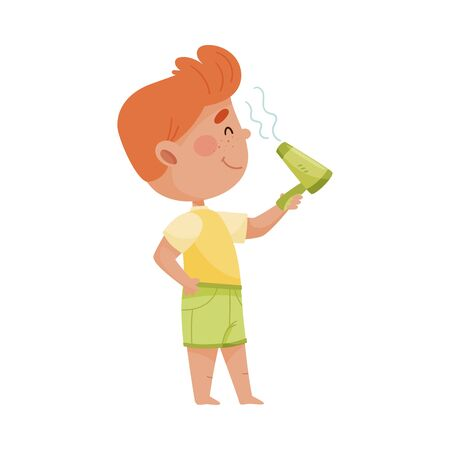 Smiling Little Boy Drying His Hair with Blow Dryer after Taking Bath Vector Illustration. Kid Engaged in Grooming Procedures Concept