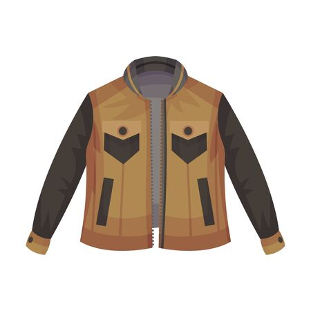 Brown Zip-through Jacket with Pockets as Male Clothing Item Vector Illustration