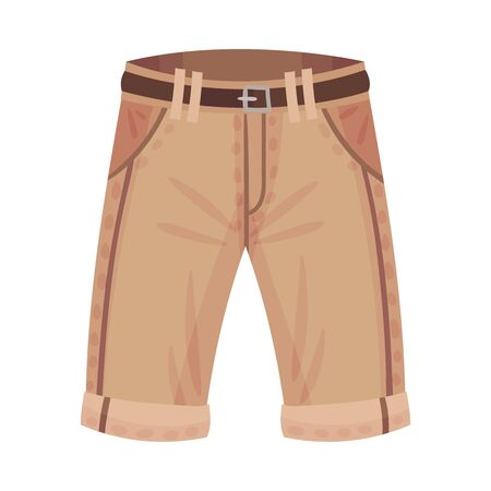 Light Brown Shorts or Knee Breeches with Side Pockets and Belt as Male Clothing Item Vector Illustration Vektoros illusztráció