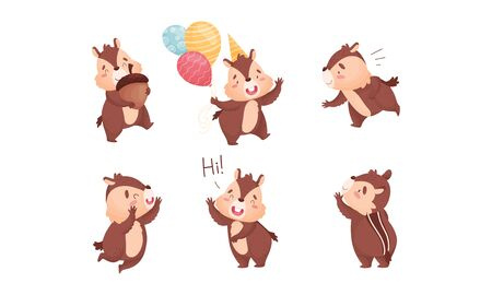 Fluffy Chipmunk Carrying Acorn and Greeting Vector Set