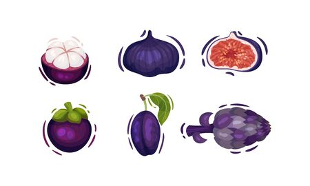 Purple Vegetables and Fruits with Plum and Fig Vector Set