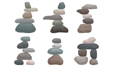 Smooth Stones and Pebbles Balancing on Each Other Creating Tower Vector Set Ilustração