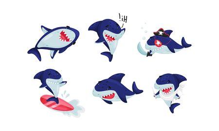 Cartoon Toothy Shark Surfboarding and Greeting Vector Set. Friendly Marine Creature Swimming and Smiling Vektorgrafik