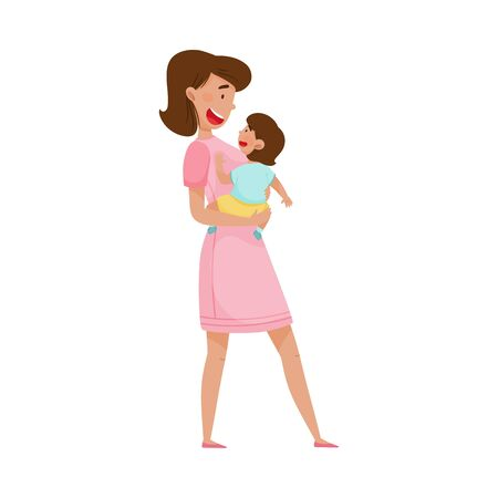 Happy Mother Embracing Tenderly Her Baby Vector Illustration