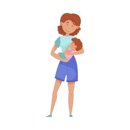 Happy Mother Embracing Tenderly Her Baby Vector Illustration. Woman Holding Child Nursing and Cherishing Him. Motherhood and Childcare Concept