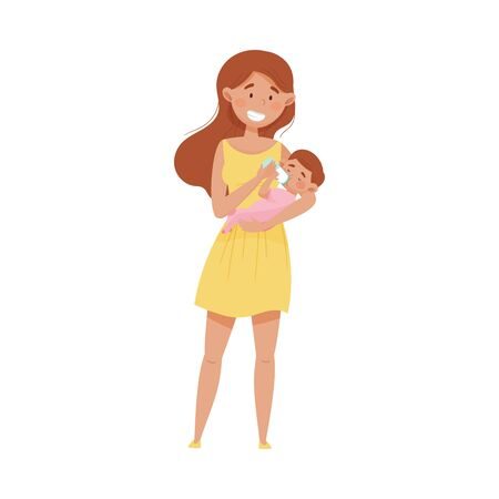 Female Mother Standing and Bottle Feeding Her Baby Vector Illustration