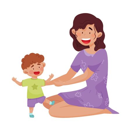 Young Mother and Her Little Baby Having Fun Together Vector Illustration