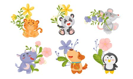 Cute Animals Holding Flower on Stalk with Their Paws Vector Set. Smiling Cartoon Creatures Loving Flora Concept