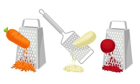 Process of Vegetables Grating on Grater Isolated on White Background Vector Set. Preparation of Healthy Food Concept Vetores