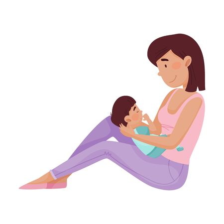 Happy Mother Holding Her Baby on Her Knees Watching Him Sleeping Vector Illustration. Woman Holding Child Nursing and Cherishing Him. Motherhood and Childcare Concept Ilustración de vector