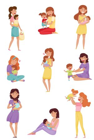 Mother Spending Time with Her Baby Cherishing and Feeding Kid Vector Illustrations Set. Motherhood and Tender Childcare Concept Vettoriali