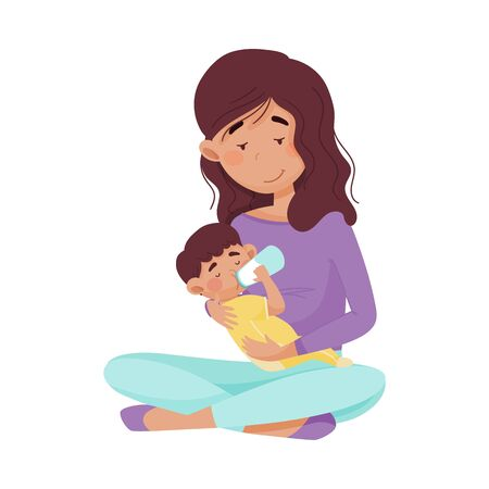 Female Mother Sitting and Bottle Feeding Her Baby Vector Illustration. Happy Motherhood and Enjoyment of Childcare Concept