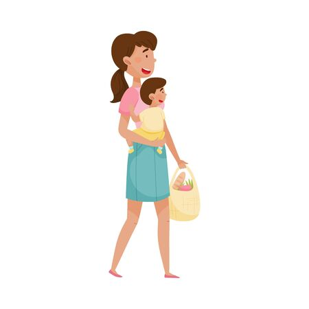 Woman Carrying Baby and Shopping Bag Walking Along the Street Vector Illustration. Woman Nursing and Cherishing Her Child. Motherhood and Childcare Concept Çizim